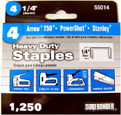 Surebonder No. 55014,  #4 Heavy Duty Narrow Crown Staples  1/4""